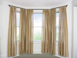 decorations vivd layered white curtain on bay windows with clean