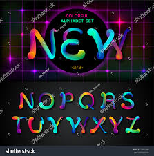 colorful dynamic liquid ink alphabet color stock vector 704817088