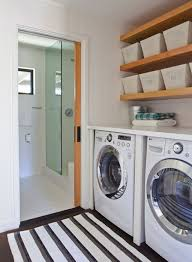 white stacked floating laundry room shelves design ideas