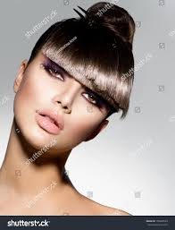 fringe fashion model trendy hairstyle stock photo 150687629