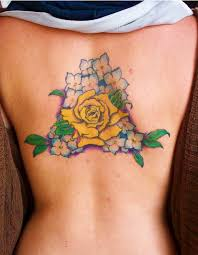 blue and white flowers yellow rose tattoo tattoomagz