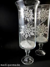 Engraved Glass Vases Snowflake Etched Glass Hurricane Vases