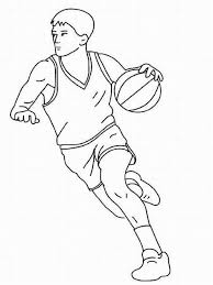 nba players coloring pages a basketball player dribbling free online coloring picture