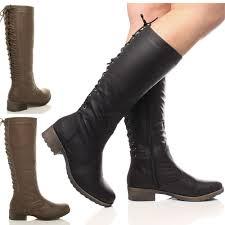 boots uk wide calf womens low heel flat biker lace up zip wide calf
