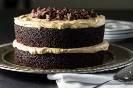 chocolate layer cake with creamy peanut butter frosting the