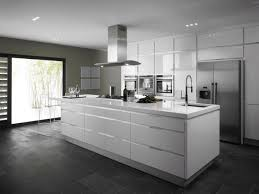 white glossy kitchen cabinet and rectangle kitchen island on grey