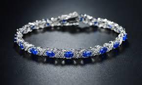 tennis blue bracelet images 80 off on genuine diamond and lab created groupon goods jpg