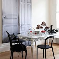 white dining table black chairs classic dining room ambiance with gloosy silver table with black