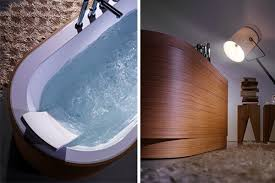 incredible looking wooden tub paneling from blubleu freshome com