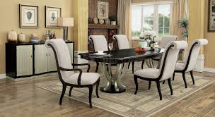 cm3353 dining table in espresso u0026 silver tone w options