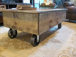 Wooden Coffee Table With Wheels by Light Brown Wooden Coffee Table With Wheels On Patterned Area Rug