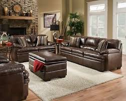 brown bonded leather sofa set casual living room furniture w