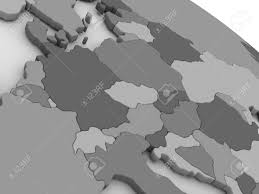 Map Of Central Europe Map Of Central Europe On Grey Model Of Earth 3d Illustration