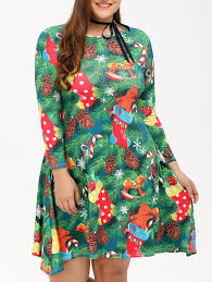plus size christmas tree print swing dress in green 2xl
