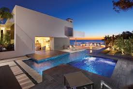 swimming pool terrace beach house in laguna beach california
