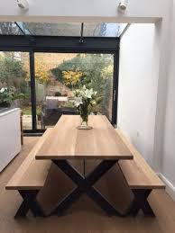 vintage steel and oak dining table and bench set with powder
