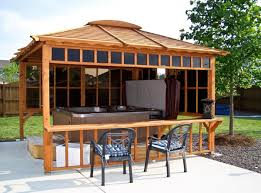 Patio Gazebo Ideas by Tub Pavilions Forever Redwood Smaller Bar No Tub