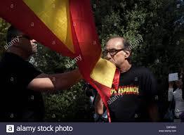 Spain Flag 2014 Barcelona Spain 12th Oct 2014 Ultra Nationalist Demonstrator