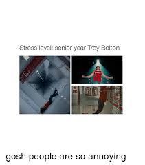 Annoyed Girl Meme - stress level senior year troy bolton gosh people are so annoying
