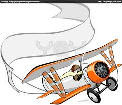 cartoon airplane with banner clipart 25