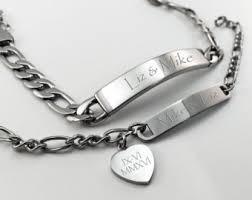 his and hers engraved bracelets couples bracelet set etsy
