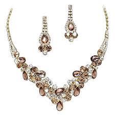 elegant gold necklace designs images Elegant bronze brown v shaped garland prom bridesmaid jpg