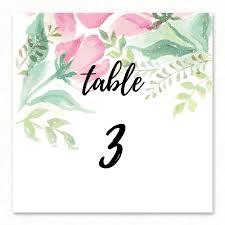 numero table mariage numéro de table aquarelle épuré peinture romantique paper and
