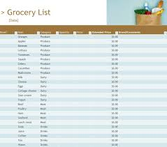 Grocery List Word Template Stock List Template Personal Or Business Inventory List Template