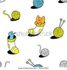 Kids Wool Socks Funny Little Cat Mouse Wool Socks Stock Vector 552427924