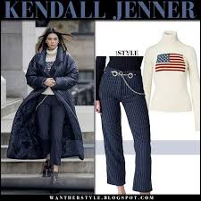 jenner sweater kendall jenner in flag sweater and blue pinstripe