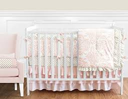 White Nursery Bedding Sets Sweet Jojo Designs 9 Blush Pink White Damask