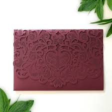 wedding invitations burgundy laser cut heart pocket wedding invitation flamingo