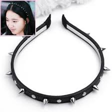 spiked headband fashion women leather spike rivet studded headband bow hair