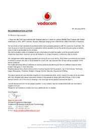 Business Deal Letter vodacom recomendation letter