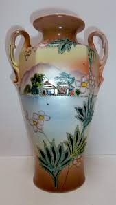 Nippon Hand Painted Vase Royal Nippon Nishiki Hand Painted Vase C 1906 Older Repair To