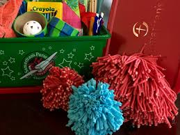 operation christmas child craft rya tie pom pom ball craft