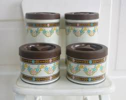 pink kitchen canister set retro canisters etsy