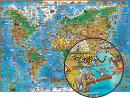 Map Of The World Art by Illustrated Map Of Animals Of The World English Edition Round