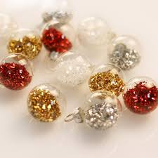 gisela graham box of 12 glitter filled clear glass mini tree