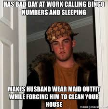 has bad day at work calling bingo numbers and sleeping makes husband