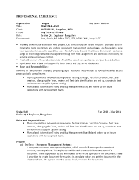 Manual Testing Resume Sample For Experience by Performance Tester Resume India Contegri Com