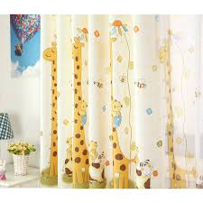 Teal And Yellow Curtains Cartoon Giraffe Yellow Kids Curtains For Bedroom