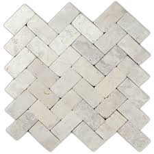 cream herringbone stone mosaic tile pebble tile shop