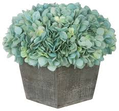 Silk Flower Arrangements Artifial Hydrangea In Gray Washed Wood Cube Teal Transitional