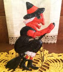 vintage halloween small broomed witch diecut decoration facing