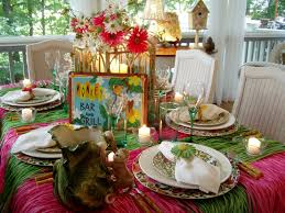 hawaiian or tropical table setting tablescape