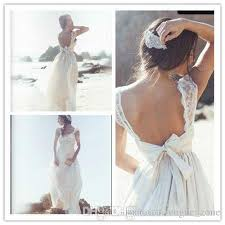 Wedding Dresses Discount Discount 2017 Beach Wedding Dresses Cheap Lace V Neck Bow Backless