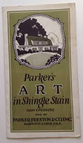 vintage paint brochure parker preston shingle stain color chart