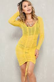 yellow sheer mesh ruched long sleeve bodycon party dress