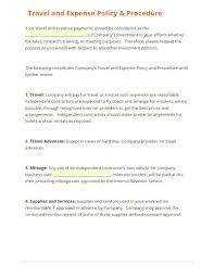 travel policy template template idea